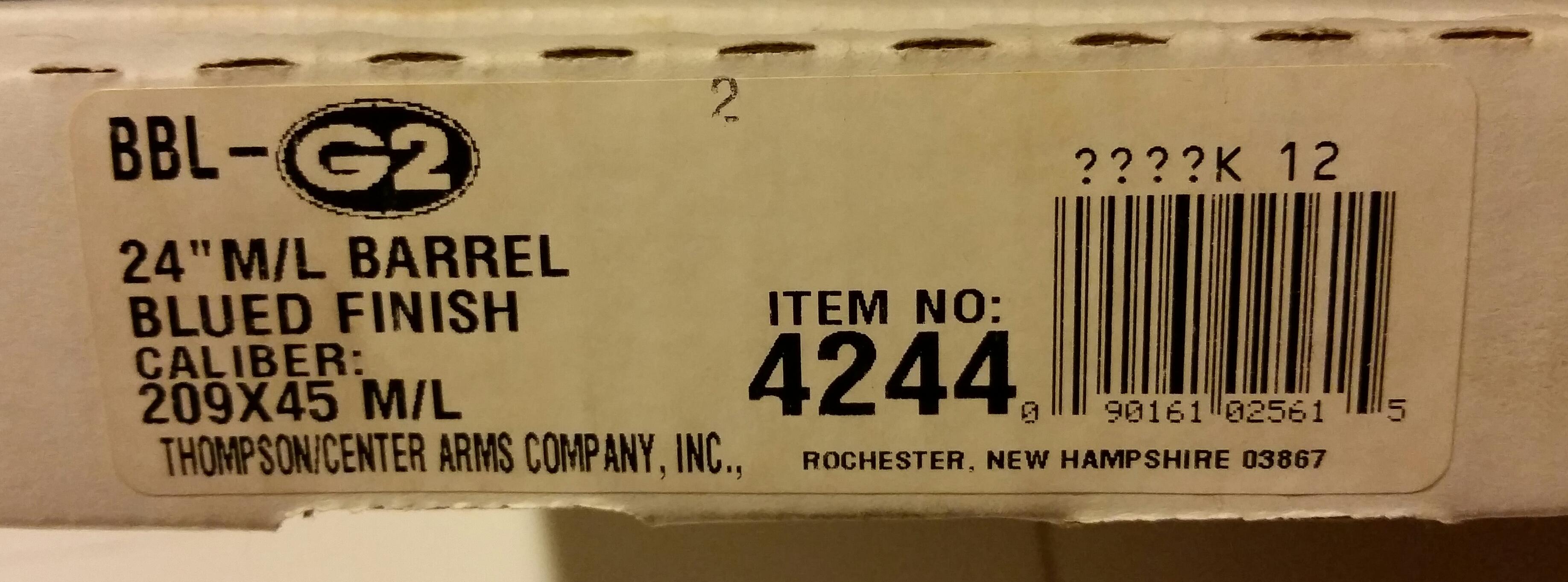 Contender 209x45 Muzzleloader barrel for sale SOLD